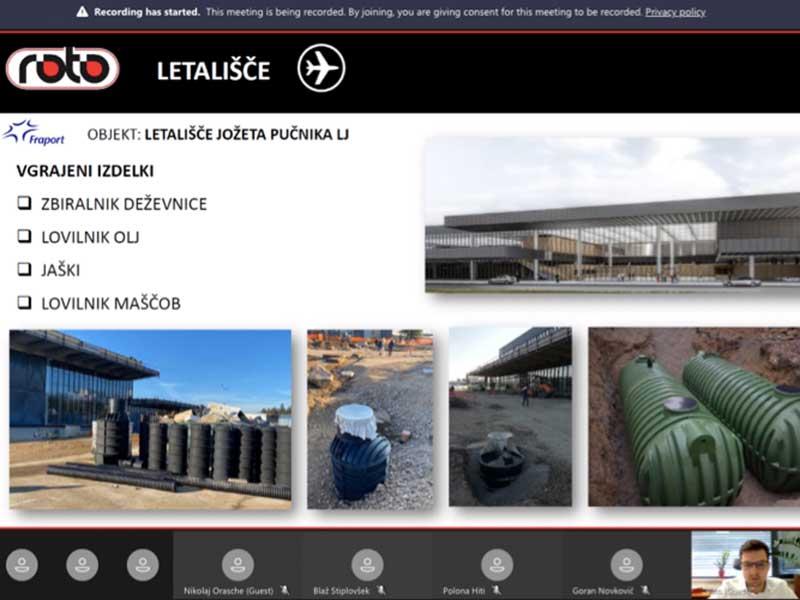ROTO zelena tehnologija vlaganje razvoj čistilne naprave rezervoarji za vodo Slovenian Business Club Webinar Fraport